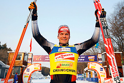 CHANGCHUN, CHINA - SUNDAY, FEBRUARY 25th, 2007: Angerer Tobias of Germany celebrates after winning the champion in the men's 15 km sprint race at the 2007 FIS World Cup cross-country skiing event. (Pic by Osports/Propaganda)