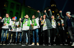 Gasper Marguc, Blaz Janc, Uros Serbec and Matevz Skok during reception of Slovenian National Handball Men team after they placed third at IHF World Handball Championship France 2017, on January 30, 2017 in Mestni trg, Ljubljana centre, Slovenia. Photo by Vid Ponikvar / Sportida