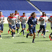 Team captain Clint Dempsey leads the warm up during the US Mens National Team training at Red Bull Arena in preparation for Sunday's game against Turkey as they prepare for the 2014 FIFA World Cup. Red Bull Arena, Harrison, New Jersey, USA. 30th May 2014. Photo Tim Clayton