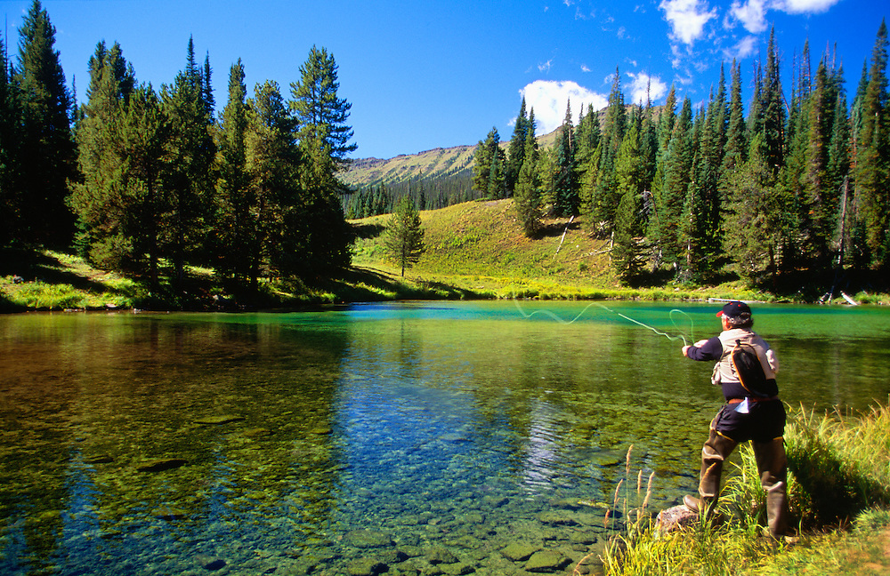 350430-1020 ~ Copyright:  George H. H. Huey ~ Fly fishing on the North Fork.  Near Trappers Lake, Flat Tops Wildernesss Area.  White River National Forest, Colorado.