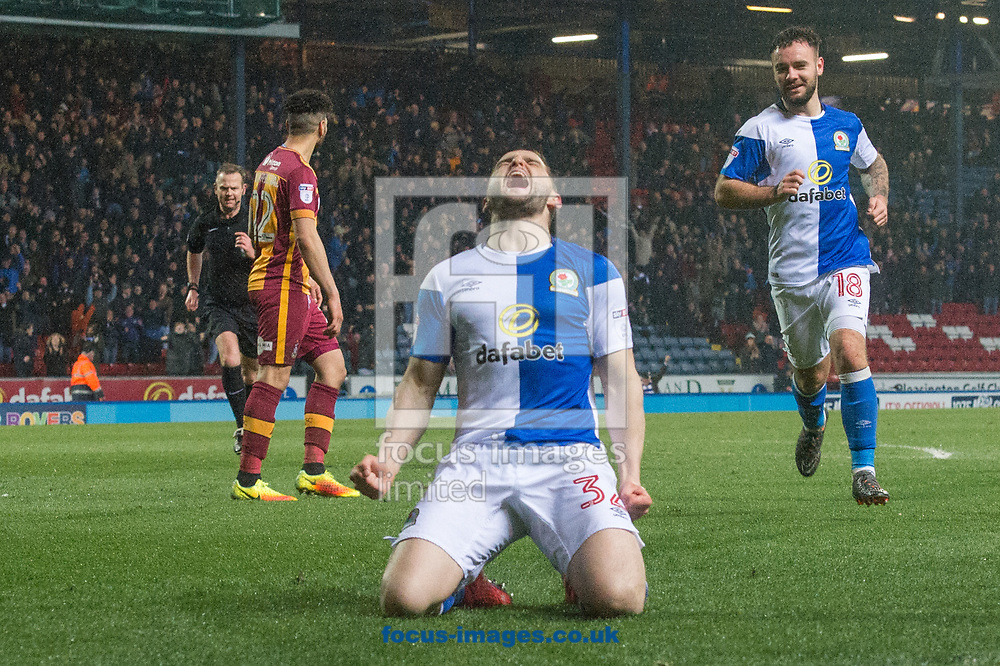 Craig Conway of Blackburn Rovers celebrates after scoring his sides second goal during the Sky Bet League 1 match at Ewood Park, Blackburn<br /> Picture by Matt Wilkinson/Focus Images Ltd 07814 960751<br /> 29/03/2018
