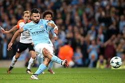 Sergio Aguero of Manchester City misses a penalty - Mandatory by-line: Matt McNulty/JMP - 26/09/2017 - FOOTBALL - Etihad Stadium - Manchester, England - Manchester City v Shakhtar Donetsk - UEFA Champions League Group stage - Group F