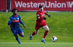 LIVERPOOL, ENGLAND - Monday, February 24, 2020: Liverpool's Liam Millar (R) and Sunderland's Bali Mumba during the Premier League Cup Group F match between Liverpool FC Under-23's and AFC Sunderland Under-23's at the Liverpool Academy. (Pic by David Rawcliffe/Propaganda)