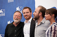 Jack Thompson, Michael Fassbender, director Derek Cianfrance and actress Alicia Vikander at The Light Between Oceans film photocall at the 73rd Venice Film Festival, Sala Grande on Thursday September 1st 2016, Venice Lido, Italy.