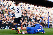 Branislav Ivanovic of Chelsea (right) tackles Leighton Baines of Everton during the Barclays Premier League match at Stamford Bridge, London<br /> Picture by David Horn/Focus Images Ltd +44 7545 970036<br /> 22/02/2014