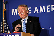Republican presidential candidate Donald Trump smiles while taking questions at a town hall meeting in Windham,  N.H. Monday, Jan. 11, 2016.  CREDIT: Cheryl Senter for The New York Times