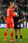 Michael Santos of FC Copenhagen offers his advice to Karl-Johan Johnsson of FC Copenhagen ahead of the penalty  during the Europa League match between Celtic and FC Copenhagen at Celtic Park, Glasgow, Scotland on 27 February 2020.