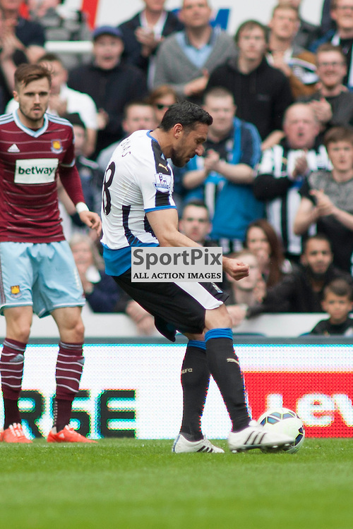 Jonas Gutierrez shoots in the Newcastle v West Ham, Barclays Premiership match at St James&rsquo; Park, Newcastle 24 May 2014<br />