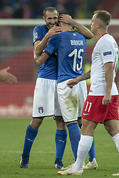 October 14, 2018 - Chorzow, Poland - Giorgio Chiellini and Cristiano Biraghi of Italy celebrate during the UEFA Nations League A match between Poland and Italy at Silesian Stadium in Chorzow, Poland on October 14, 2018  (Credit Image: © Andrew Surma/NurPhoto via ZUMA Press)