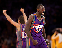 27 May 2010: Guard Jason Richardson of the Phoenix Suns reacts after hitting a game tying three pointer against the Los Angeles Lakers during the second half of the Lakers 103-101 victory over the Suns in Game 5 of the NBA Western Conference Finals at the STAPLES Center in Los Angeles, CA.