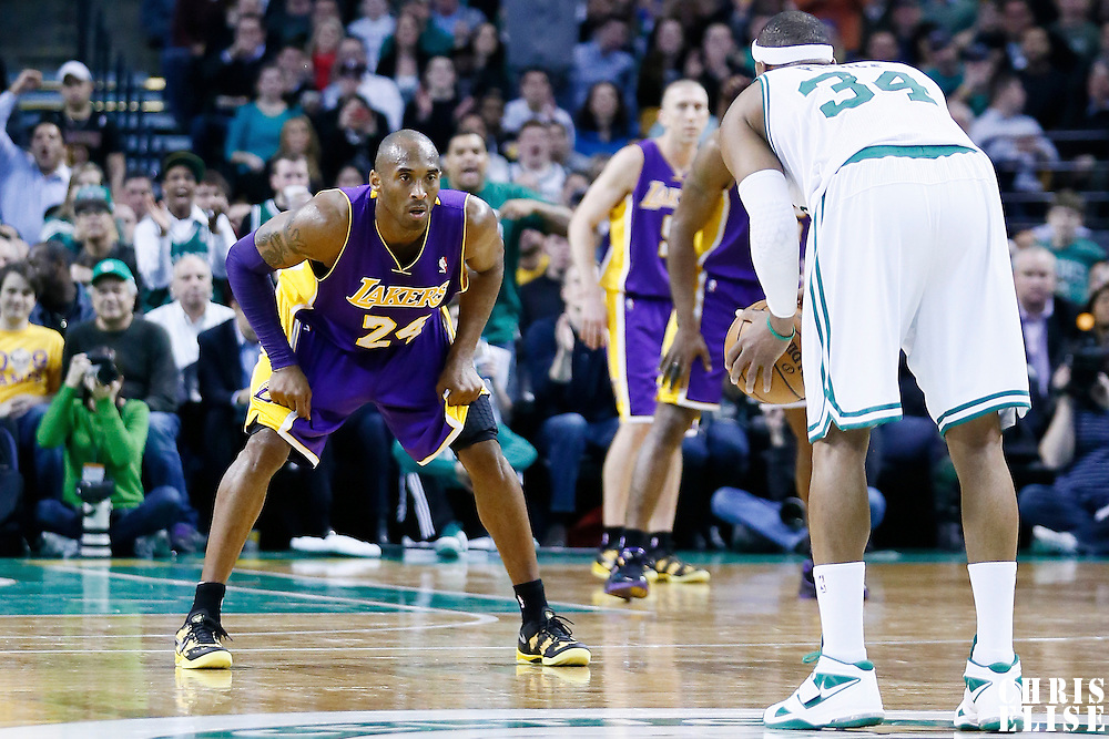 07 February 2013: Los Angeles Lakers shooting guard Kobe Bryant (24) defends on Boston Celtics small forward Paul Pierce (34) during the Boston Celtics 116-95 victory over the Los Angeles Lakers at the TD Garden, Boston, Massachusetts, USA.