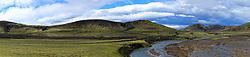 05-07-2014 NED: Iceland Diabetes Challenge dag 1, Landmannalaugar <br /> Vandaag ging de challenge van start. Met een bus gingen we van Vogar naar Landmannalaugar en zagen we de eerste tekenen van het prachtige landschap van IJsland /
