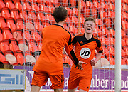 St John's Lyall Cameron (right) is congratulated after scoring one of his double hat-trick -  St.John's (orange) v Grove (light blue) in the Dundee United Cup (sponsored by Arab Trust) at Tannadice, Dundee<br /> <br /> <br />  - &copy; David Young - www.davidyoungphoto.co.uk - email: davidyoungphoto@gmail.com