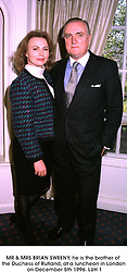 MR & MRS BRIAN SWEENY, he is the brother of the Duchess of Rutland, at a luncheon in London on December 5th 1996.LUH 1