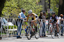 Ben Showman (United States Military Academy) leads the chase.  The 2008 USA Cycling Collegiate National Championships Criterium men's division 2 event held in Fort Collins, CO on May 11, 2008.