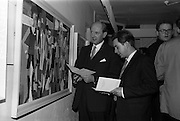 18/11/1964<br /> 11/23/1964<br /> 18 November 1964<br /> <br /> Mr. Jack Lynch Minister for Industry and Commerce who opened  an exhibition by the Cork artist Mortimer O'Shea (right) the two men are chatting at the event at Molesworth Gallery, Dublin.