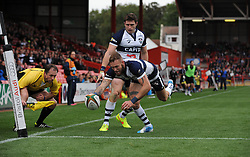 Bristol Rugby's Ryan Edwards scores a try - Photo mandatory by-line: Dougie Allward/JMP - Mobile: 07966 386802 - 12/10/2014 - SPORT - Rugby - Bristol - Ashton Gate - Bristol Rugby v Connacht Eagles - B&I Cup