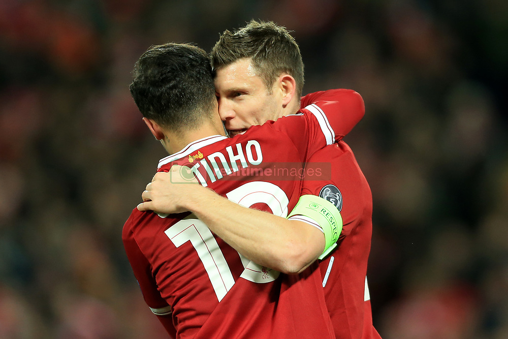 6th December 2017 - UEFA Champions League - Group E - Liverpool v Spartak Moscow - Philippe Coutinho of Liverpool celebrates with teammate James Milner after scoring their 5th goal - Photo: Simon Stacpoole / Offside.