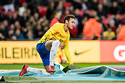Brazil (10) Neymar during the International Friendly match between England and Brazil at Wembley Stadium, London, England on 14 November 2017. Photo by Sebastian Frej.