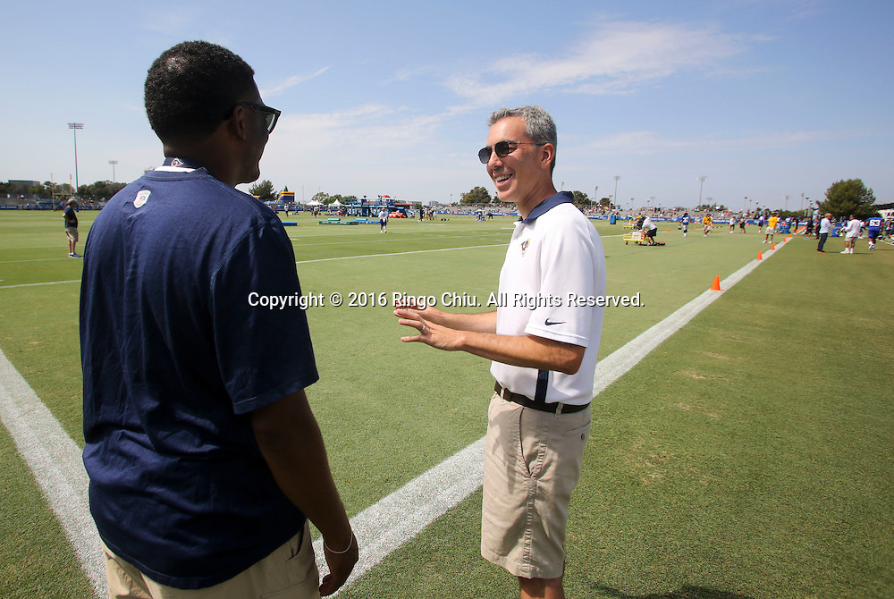 Rams Chief Operating Officer Kevin Demoff in Los Angeles Rams training session at UC Irvine campus.<br /> (Photo by Ringo Chiu/PHOTOFORMULA.com)<br /> <br /> Usage Notes: This content is intended for editorial use only. For other uses, additional clearances may be required.