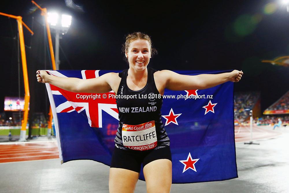 Julia Ratcliffe of New Zealand wins gold in the Women's Hammer Throw Final. Gold Coast 2018 Commonwealth Games, Athletics, Carrara Stadium, Gold Coast, Australia. 10 April 2018 © Copyright Photo: Anthony Au-Yeung / www.photosport.nz