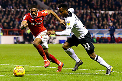 Florian Jozefzoon of Derby County takes on Tendayi Darikwa of Nottingham Forest - Mandatory by-line: Robbie Stephenson/JMP - 25/02/2019 - FOOTBALL - The City Ground - Nottingham, England - Nottingham Forest v Derby County - Sky Bet Championship