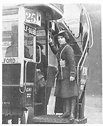 World War I - 1914-1918.  After conscription in 1916, British women took over many civilian jobs.  Woman bus conductor.