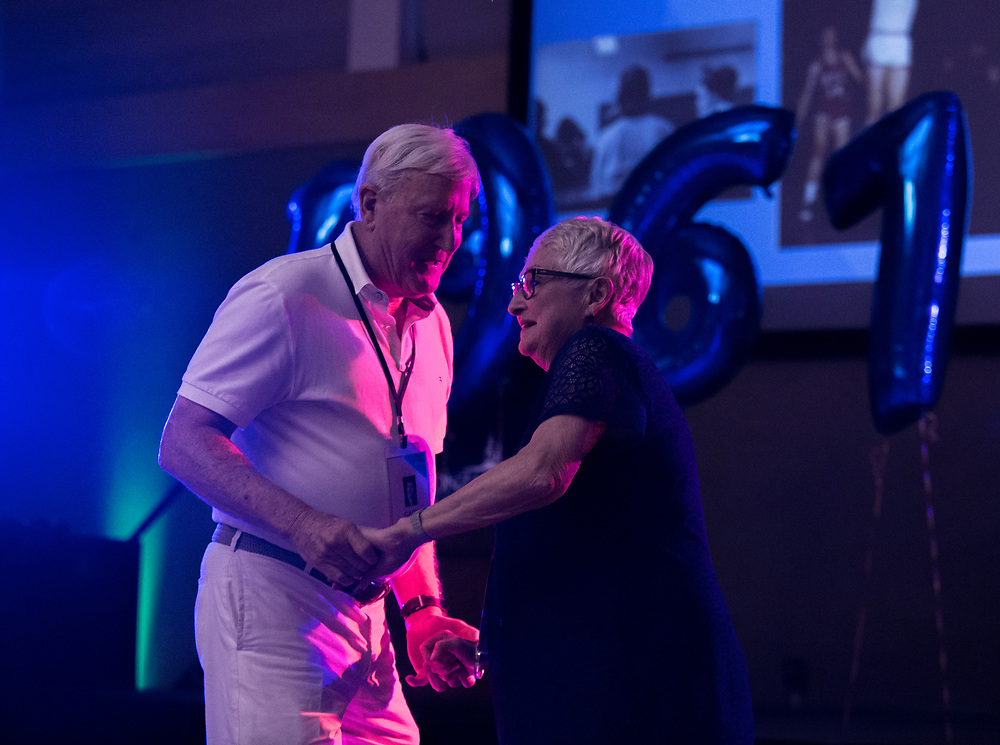 Members of the Class of 1967 dance together on June 17 in Cataldo Hall. The Gold Club Reunion took place between June 16 and 17 with an abundance of merry reflection. Photo by Libby Kamrowski