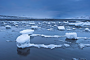 Ice and darkness near Akureyri.