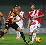 Barnet player Tom Champion & Exeter City midfielder Aaron Davies compete for possession during the Sky Bet League 2 match between Barnet and Exeter City at The Hive Stadium, London, England on 31 October 2015. Photo by Bennett Dean.