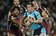May 25th 2011: Blues Captian, Paul Gallen looks to pass the ball during game 1 of the 2011 State of Origin series at Suncorp Stadium in Brisbane, Australia on May 25, 2011. Photo by Matt Roberts/mattrIMAGES.com.au / QRL