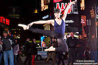 Times Square At Night Dance As Art The New York Photography Project with ballerina Cassandra Martin.