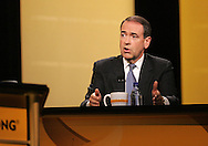 28 August 2007: Republican presidential hopeful and former Arkansas governor Mike Huckabee answers a question at the LIVESTRONG Presidential Cancer Forum in Cedar Rapids, Iowa on August 28, 2007.