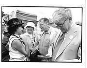 Lady Carla Powell, Penny Mortimer, Jean Paul Getty and Christopher Gibs. Countryside Rally, Hyde Park, London. 7 July 1997. © Copyright Photograph by Dafydd Jones 66 Stockwell Park Rd. London SW9 0DA Tel 020 7733 0108 www.dafjones.com