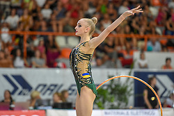 July 28, 2018 - Chieti, Abruzzo, Italy - Rhythmic gymnast Olena Diachenko of Ukraine performs her hoop routine during the Rhythmic Gymnastics pre World Championship Italy-Ukraine-Germany at Palatricalle on 29th of July 2018 in Chieti Italy. (Credit Image: © Franco Romano/NurPhoto via ZUMA Press)