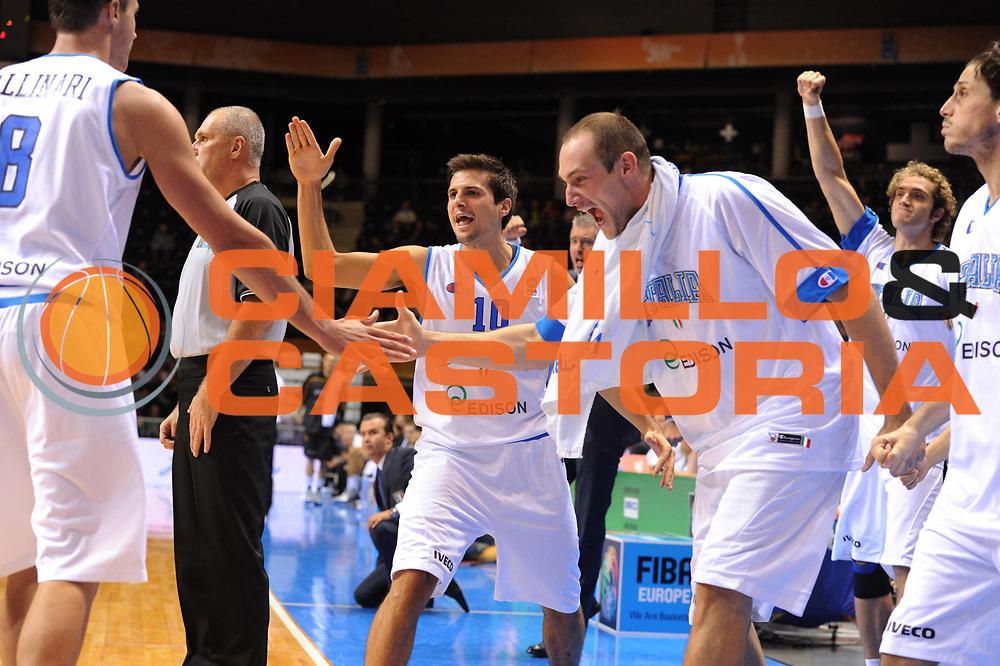 DESCRIZIONE : Siauliai Lithuania Lituania Eurobasket Men 2011 Preliminary Round Italia Germania Italy Germany<br /> GIOCATORE : Andrea Cinciarini Marco Cusin Team Italia<br /> SQUADRA : Italia Italy<br /> EVENTO : Eurobasket Men 2011<br /> GARA : Italia Germania Italy Germany<br /> DATA : 01/09/2011 <br /> CATEGORIA : esultanza<br /> SPORT : Pallacanestro <br /> AUTORE : Agenzia Ciamillo-Castoria/G.Ciamillo<br /> Galleria : Eurobasket Men 2011 <br /> Fotonotizia : Siauliai Lithuania Lituania Eurobasket Men 2011 Preliminary Round Italia Germania Italy Germany<br /> Predefinita :