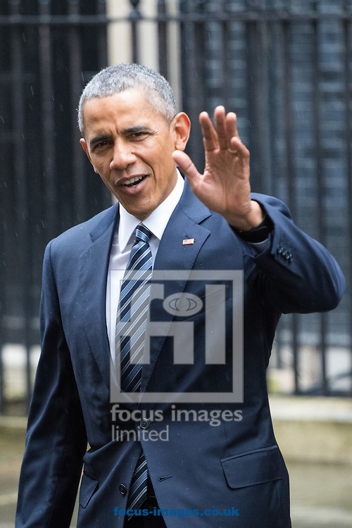 United States President Barak Obama leaves 10 Downing Street in London to address a press conference with British Prime Minister David Cameron.<br /> Picture by Paul Davey/Focus Images Ltd +447966 016296<br /> 22/04/2016