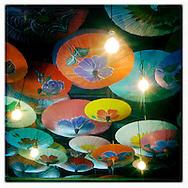 Umbrellas decorating the ceiling in Madam Mam's restaurant in Austin, Texas.