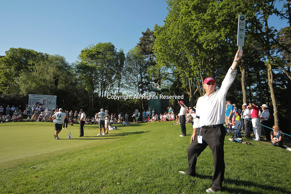 25.05.2012 Wentworth, England. View of the 17th green as the stewards ask for quite during the BMW PGA Championship.