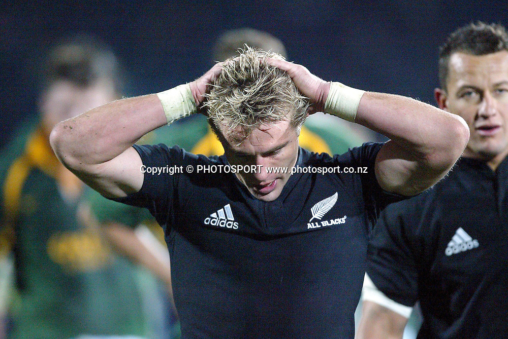 9th August, 2003. Carisbrook, Dunedin, New Zealand. <br />Tri - Nations Rugby Union. All Blacks v South Africa.<br />Justin Marshall.<br />The All Blacks won the match, 19 - 11.<br />Pic: Andrew Cornaga/Photosport
