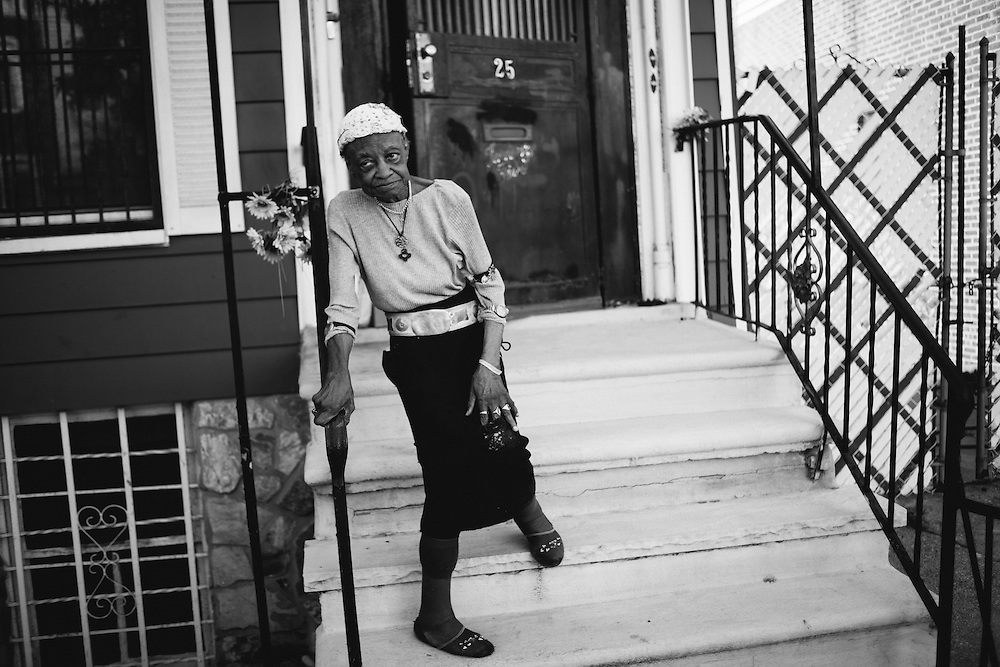 "Luzanna ""Miss Luchie"" Campbell, 90, has lived on Kossoth Place in Bushwick since she was 18 and has watched the neighborhood change. Now, all the German immigrants have moved away. After attending five different universities and trade school, Miss Lucie speaks (or tries) Spanish to many of the Puerto Ricans who pass her door."