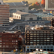 Kansas City's Union Station and Crossroads District, taken from top of Power and Light Building.