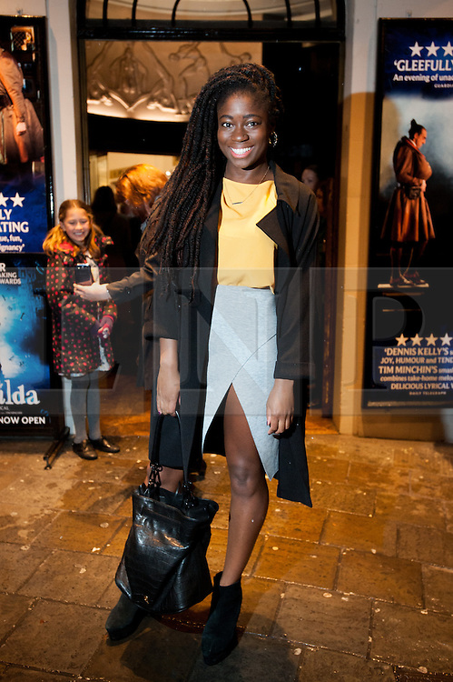 © Licensed to London News Pictures. 04/11/2014. London, UK. Clara Amfo, BBC Radio 1Xtra presenter arrives at the Children in Need gala performance of the Royal Shakespeare Company's Matilda The Musical. Photo credit : David Tett/LNP