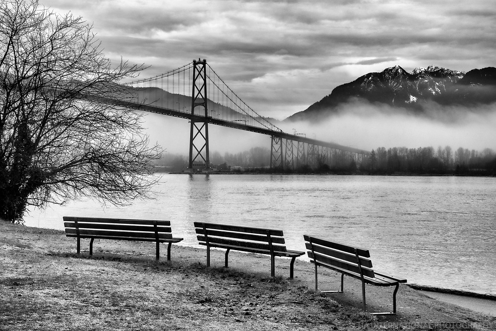 Lions Gate Bridge in the Fog, Stanley Park, Vancouver