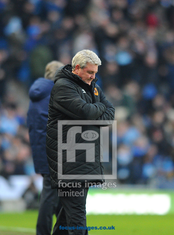 Hull City manager Steve Bruce during the Barclays Premier League match at the Etihad Stadium, Manchester<br /> Picture by Greg Kwasnik/Focus Images Ltd +44 7902 021456<br /> 07/02/2015