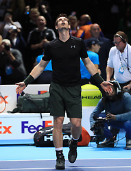 Andy Murray react as he wins the championship during day eight of the Barclays ATP World Tour Finals at The O2, London.