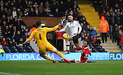 Fulham defender Ryan Fredericks (07) with a chance during the Sky Bet Championship match between Fulham and Charlton Athletic at Craven Cottage, London, England on 20 February 2016. Photo by Matthew Redman.