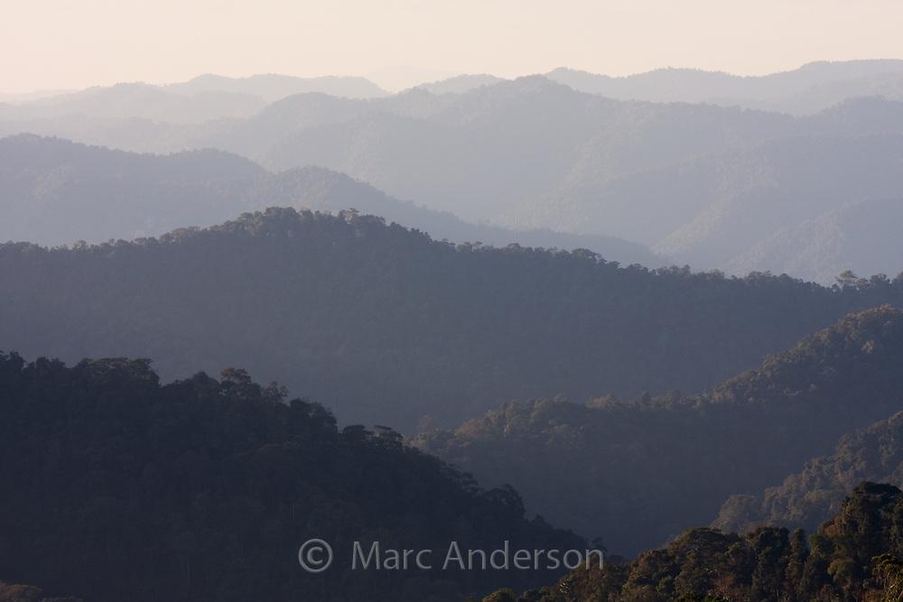 Rainforest covered hills in Kaeng Krachan National Park, Thailand