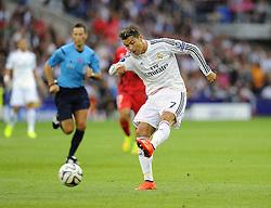 Real Madrid's Cristiano Ronaldo Shoots - Photo mandatory by-line: Joe Meredith/JMP - Mobile: 07966 386802 12/08/2014 - SPORT - FOOTBALL - Cardiff - Cardiff City Stadium - Real Madrid v Sevilla - UEFA Super Cup