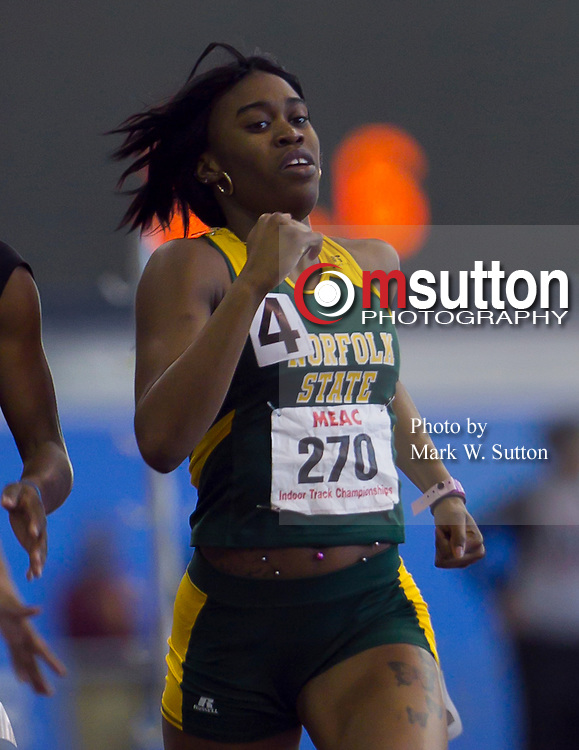 during the 2012 MEAC Indoor Track Championship in Landover, Maryland.  02/17/12  (Photo by Mark W. Sutton)